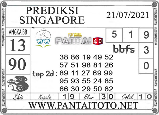 PREDIKSI TOGEL SINGAPORE PANTAI4D 21 JULI 2021