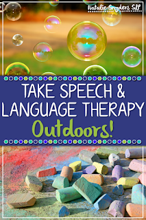 Want to take your speech-language therapy outside? Here are some easy ways to incorporate common goals with chalk and bubbles!