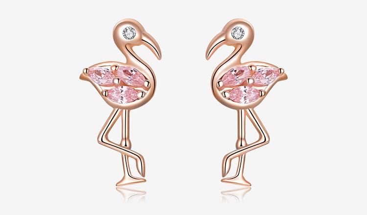優雅火鶴粉鋯石 925純銀耳環