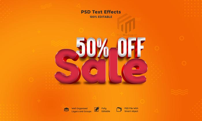 Sale 3D Editable Text Effect Psd Mockup
