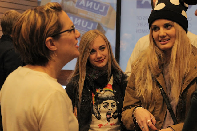 Writer/Director/Actor Jennifer Prediger talks with students from Utah Valley University's film program.