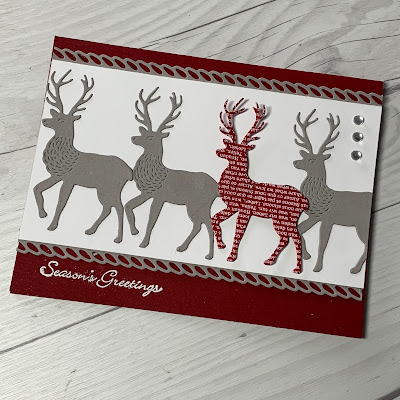 Christmas Card showing four deer images and Seasons Greeting sentiment