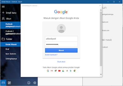 Memasukkan informasi akun Gmail