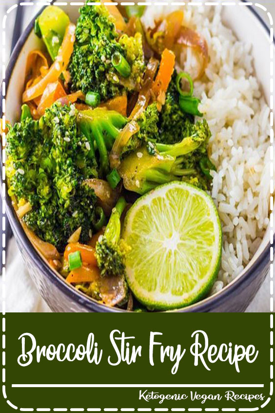 Healthy Dinner Recipes: One of my favorite broccoli recipes! This vegetarian garlic broccoli stir fry recipe is ready in just 10 minutes. Serve this easy vegan recipe over your favorite rice for a quick weeknight dinner