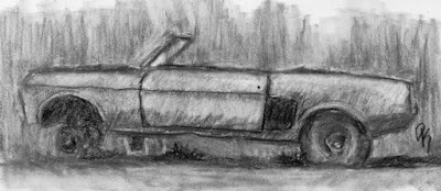 abandoned Ford Mustang convertible charcoal sketch classic car