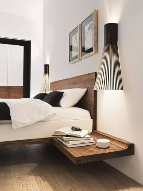 Floating bed with nightstand