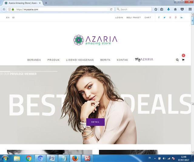 Tampilan Website Bisnis Azaria