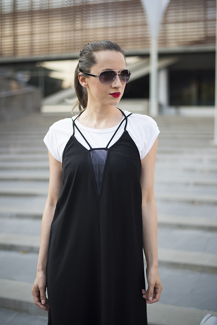 black dress over white t-shirt