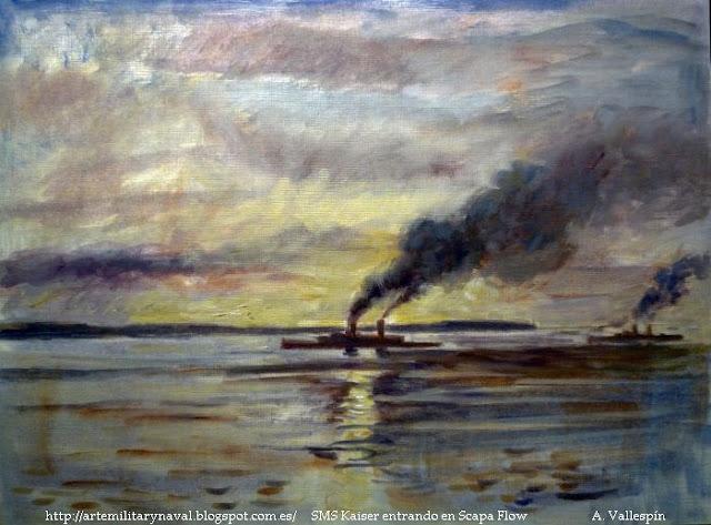 Pintura al óleo del SMS Kaiser entrando en Scapa Flow
