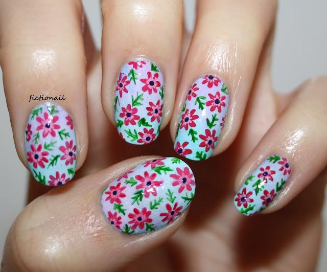 Floral Pastel Pattern Nail Art