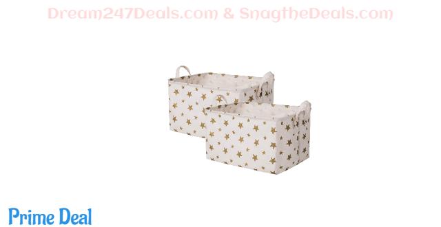40%OFF Canvas Kids Storage Basket 17x13x10 inches Toy Bins Star Laundry Storage Basket