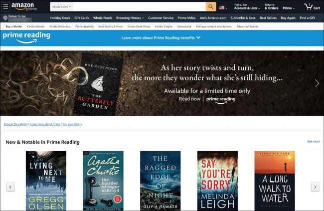 الصفحة الرئيسية للقراءة في Amazon Prime.
