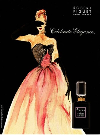 Illustration of Beautiful Woman in Pink Evening Gown 1948 Ad for Fracas Parfum by Robert Piguet in Collaboration with Germaine Cellier