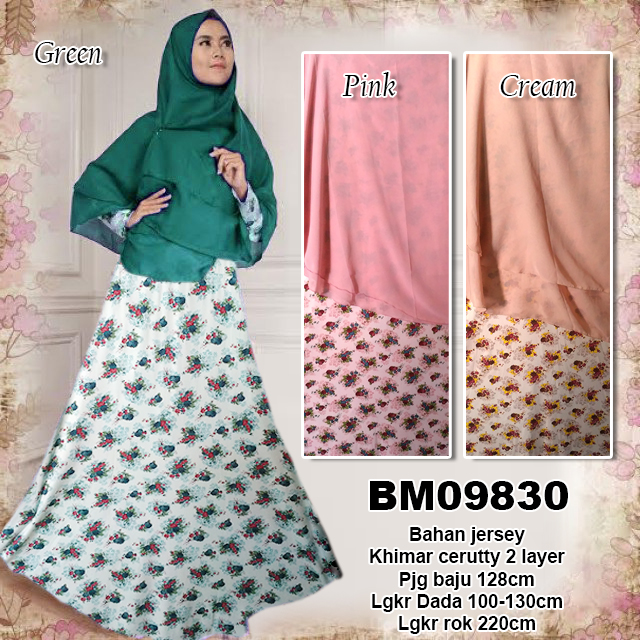 BM09830 Baju Gamis Jersey Syar i Plus Khimar Ceruty Dua Layer - bursa grosir  online baju gamis pasar tanah abang jakarta murah di semarang solo bandung  ... 3a05fc5c50