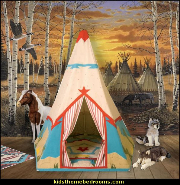Wigwam Play Tent   plush wolf toys  Native area Rugs  southwestern mural