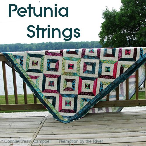 Petunia Strings quilt on the deck by the river check out my tutorial