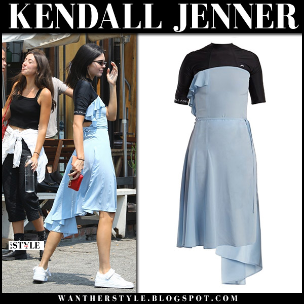 Kendall Jenner in pale blue and black silk dress marine serre and sneakers model street fashion august 9