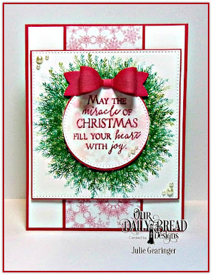 Our Daily Bread Designs Stamp Sets: Merry & Bright, Joys of the Season, Our Daily Bread Designs Custom Dies: Pierced Squares, Pierced Circles, Small Bow, Snow Crystals, Our Daily Bread Designs Paper Collection:  Snowflake Season
