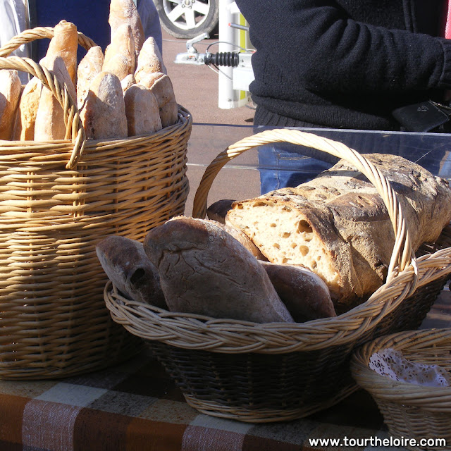 Organic bread at a market, Indre et Loire, France. Photo by Loire Valley Time Travel.