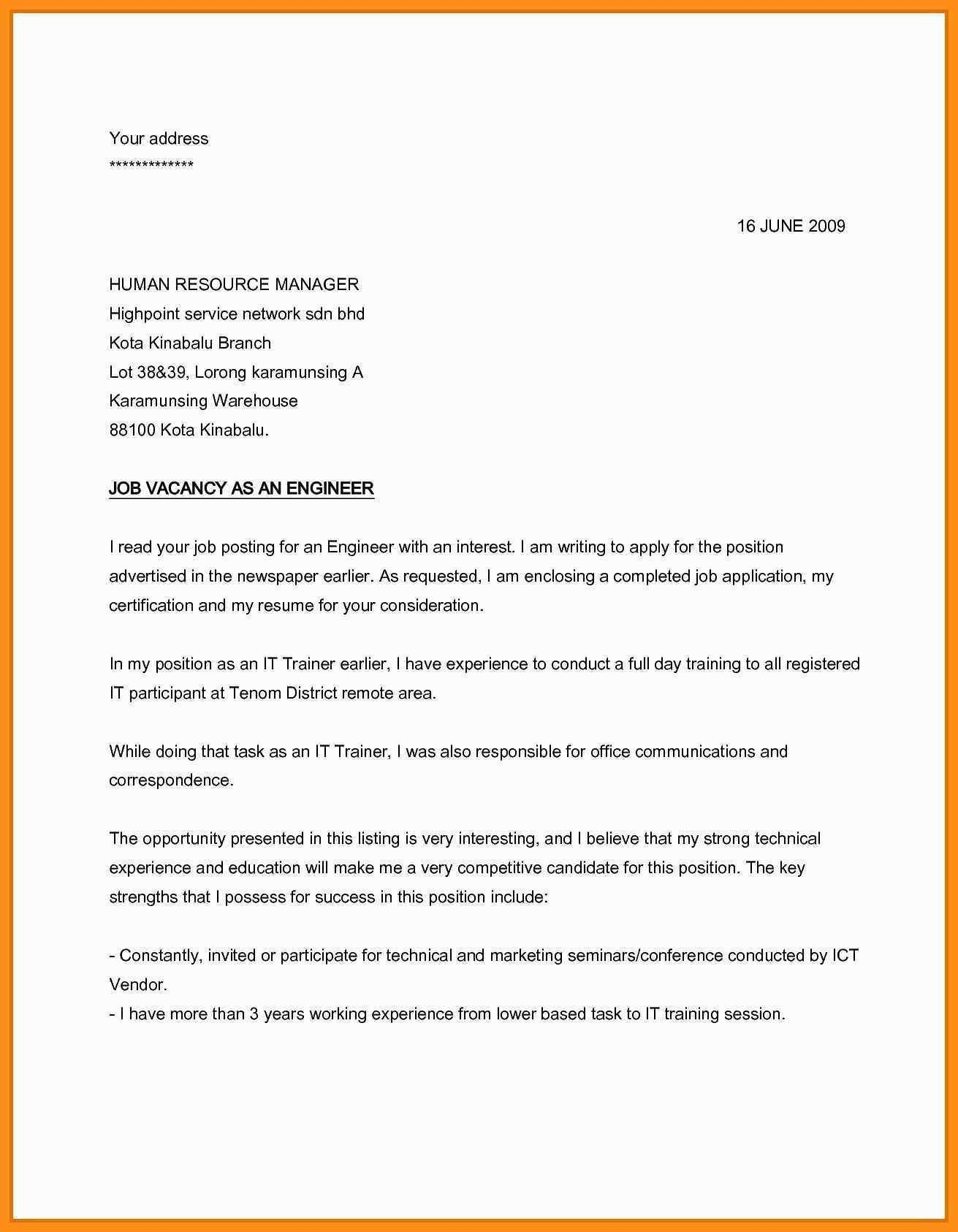 Application Letter Sample For Any Vacant Position Birthday Letter