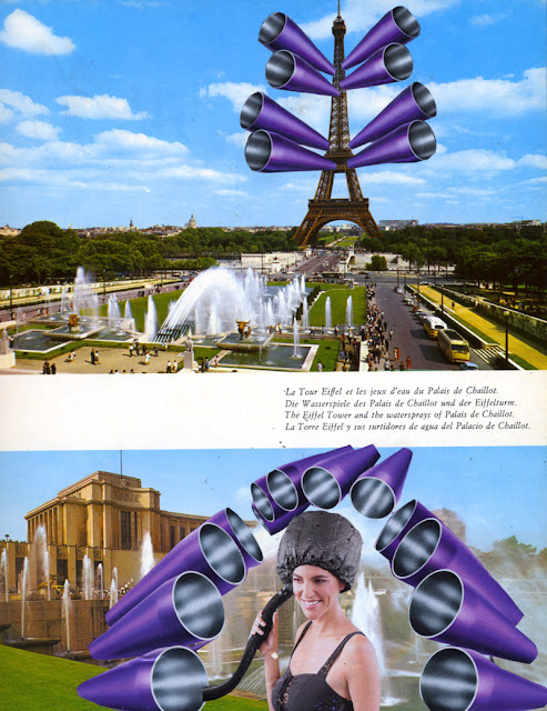 "Collage from altered book ""The Future Really is Up in the Air"""