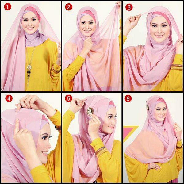 tutorial hijab modern 2017