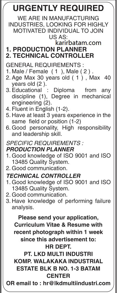 Lowongan Kerja PT. LKD Multi Industries