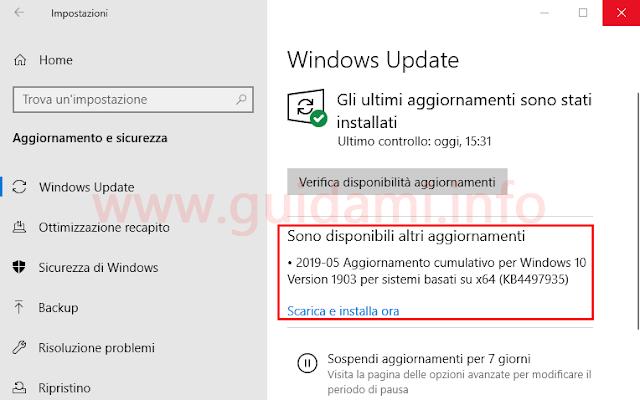 Windows Update in Windows 10 1903 notifica Sono disponibili altri aggiornamenti