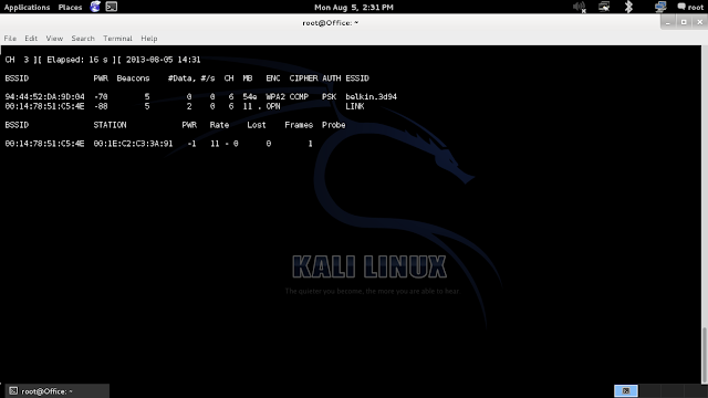Wifi Hacking - WEP - Kali Linux Aircrack-ng suite