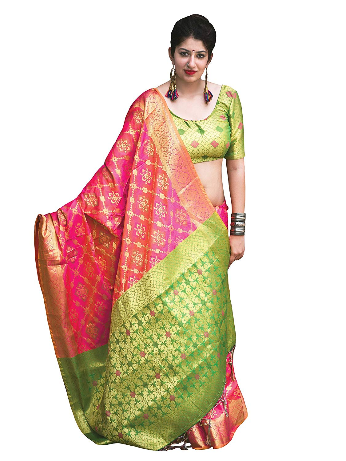 Applecreation Women'S Patola Silk Saree With Blouse Piece (9)
