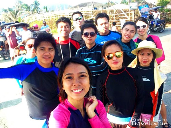 My buddies in rashguards, ready to surf in Baler