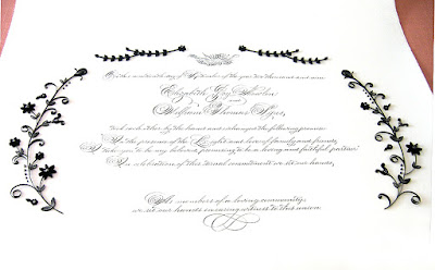 Marriage Certificate with Elegant Black and Silver Quilling