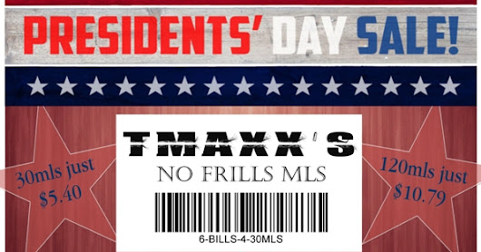 PRESIDENT'S DAY: 120ML EJUICE IN GLASS - $10.79