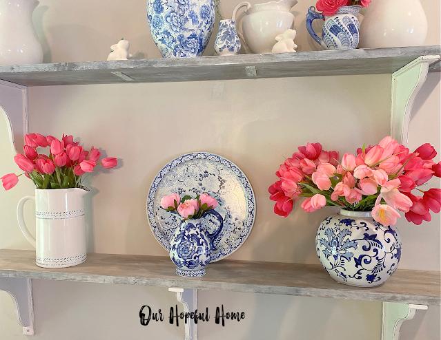 farmhouse shelf pitchers pink tulips Ming tray Bombay Company creamer