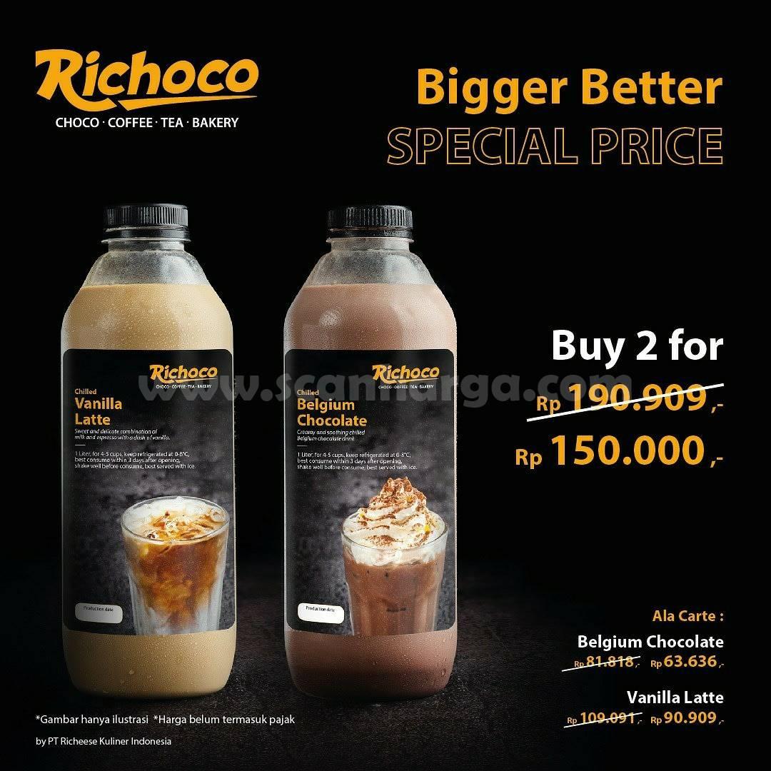 Promo Richoco Special Price Vanilla Latte & Belgium Chocolate 1 Liter