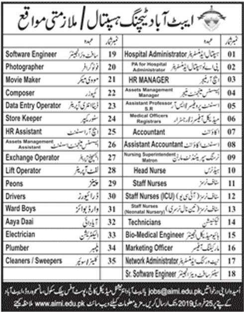 Abbottabad Teaching Hospital 11 Feb 2019 Jobs