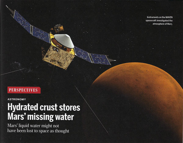 Mars' liquid water might not have been lost to space  (Source: H. Kurokawa, Science, April 2, 2021)