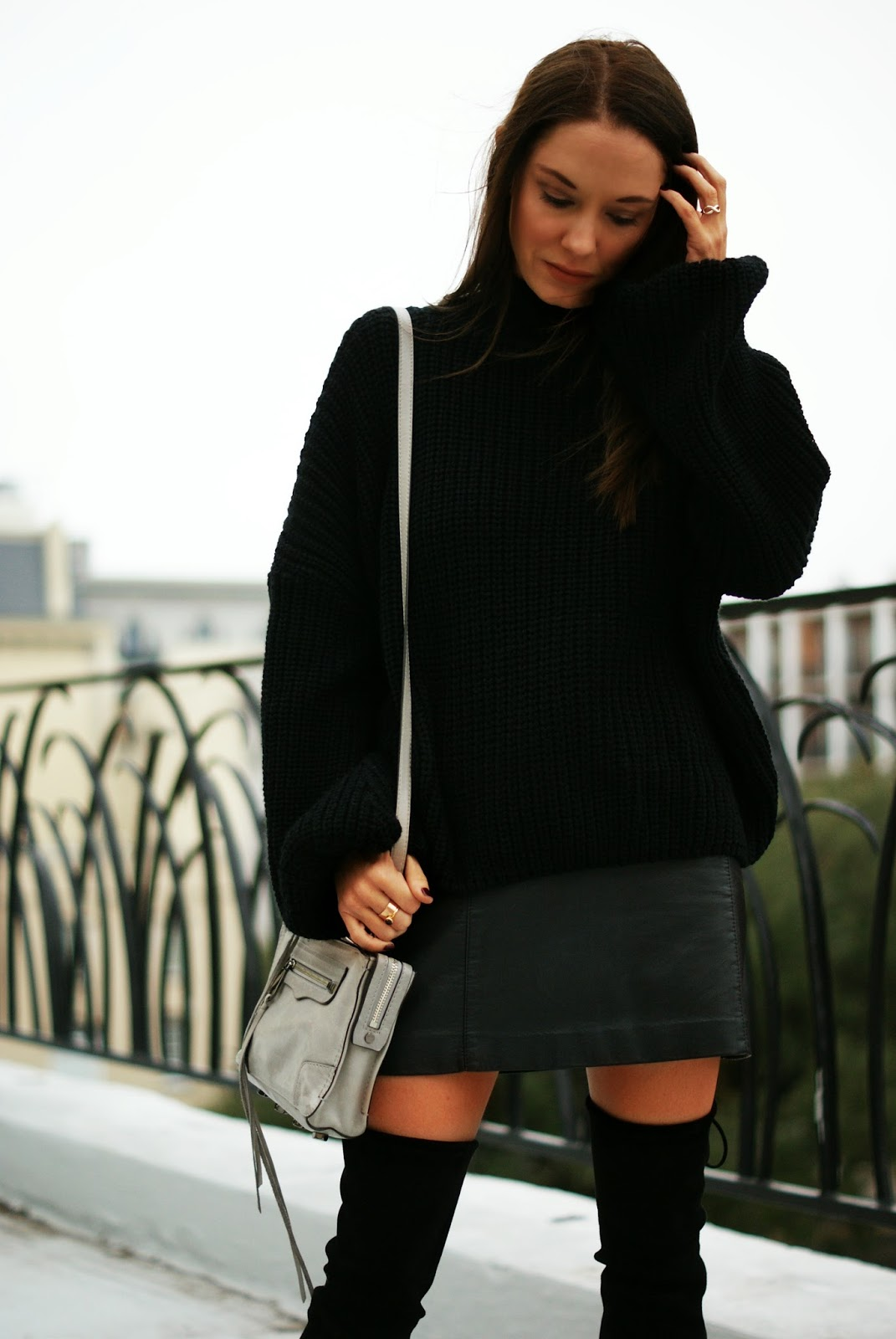 Over the knee boots and skirt outfit