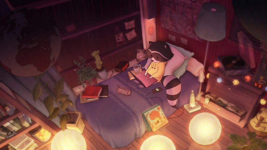 Lofi, Chill, Bedroom, Raccoon, 4K, #7.2706