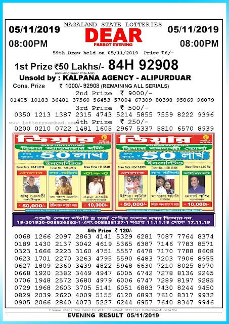 Lottery Sambad 05-11-2019 Nagaland State Lottery Result 08.00 PM-sambadlottery.org