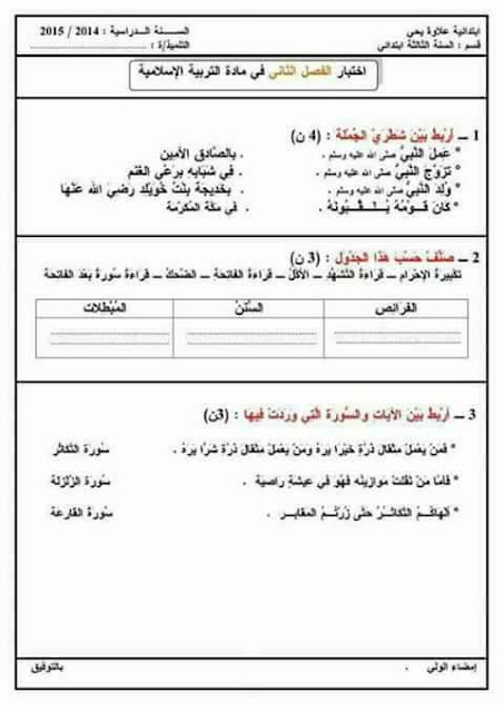 اختبارات في التربية الاسلامية للسنة الثانية ابتدائي الفصل الثاني 2017 الجيل الثاني