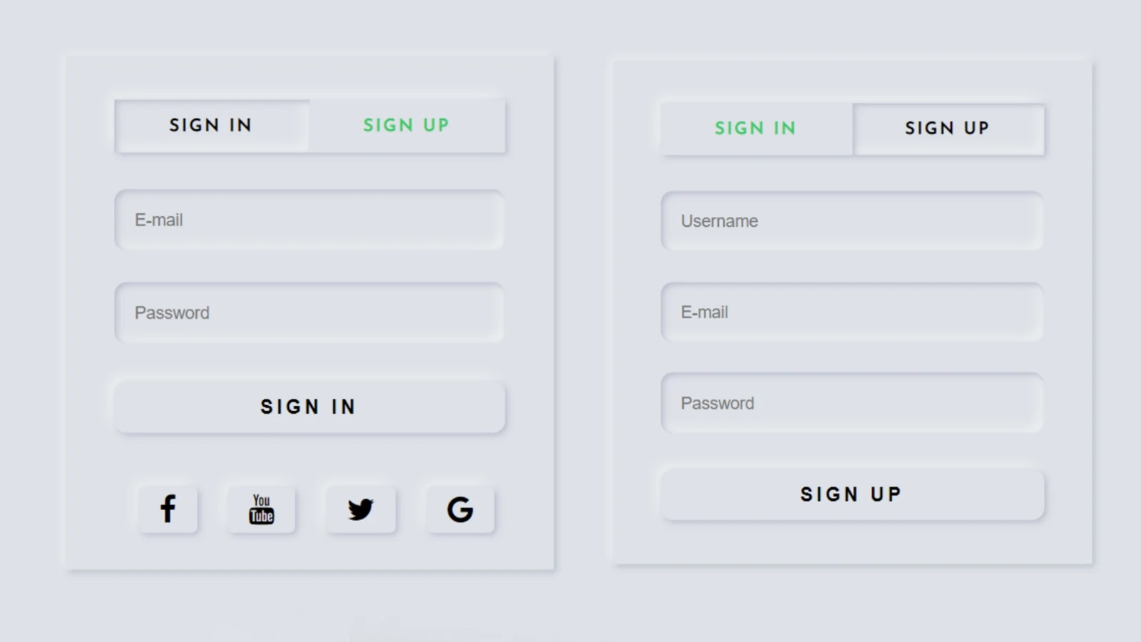 Neumorphism Login and Registration Form Using Html CSS & Jquery