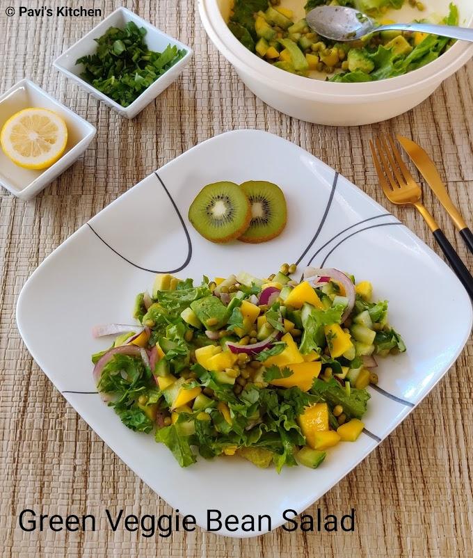 Lettuce salad recipe | Indian lettuce salad | Boiled moong dal salad | Green gram salad