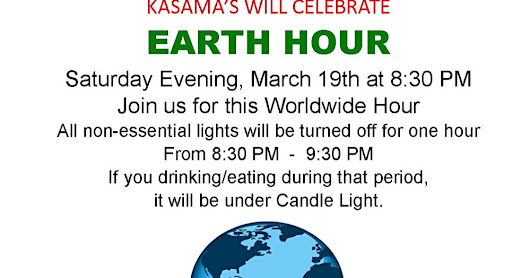 Celebrate the Earth Hour at Kasama's ~ Kasama's Pizza Restaurant Ban Krut Thailand