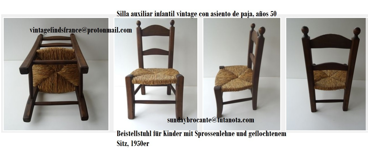 Mid century Vintage Children's Ladder Back Side Chair with Rush Seat, Silla auxiliar infantil vintage con asiento de paja, años 50, Beistellstuhl für Kinder mit Sprossenlehne und geflochtenem Sitz, 1950er