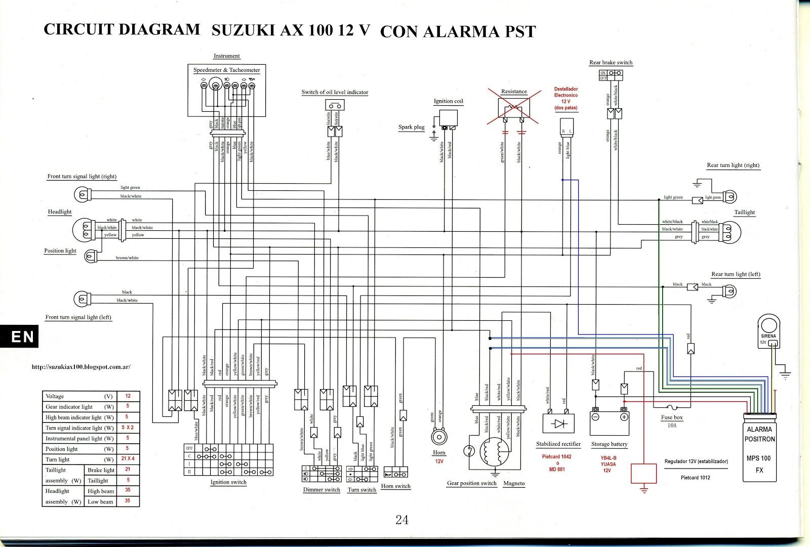 suzuki ax100 wiring diagram