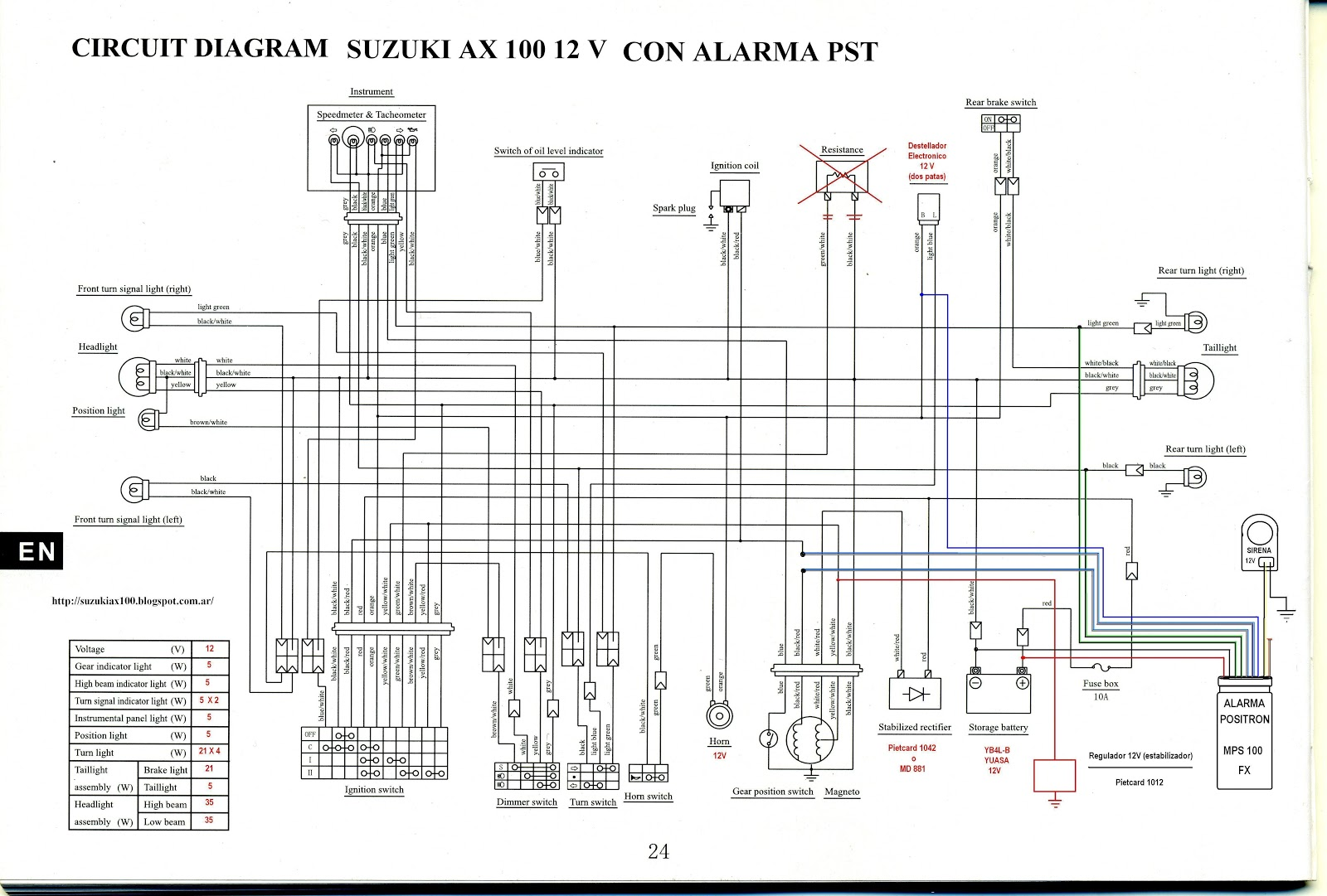 Suzuki Ax100 Pasion Por 2t Instalacion Alarma Pst Mps100