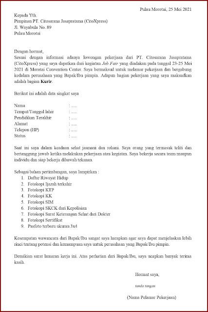 Contoh Application Letter Untuk Kurir (Fresh Graduate) Berdasarkan Informasi Dari Job Fair