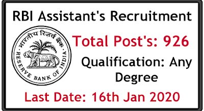 RBI Assistant 2019 Notification 926 Post's apply online rbi.org.in