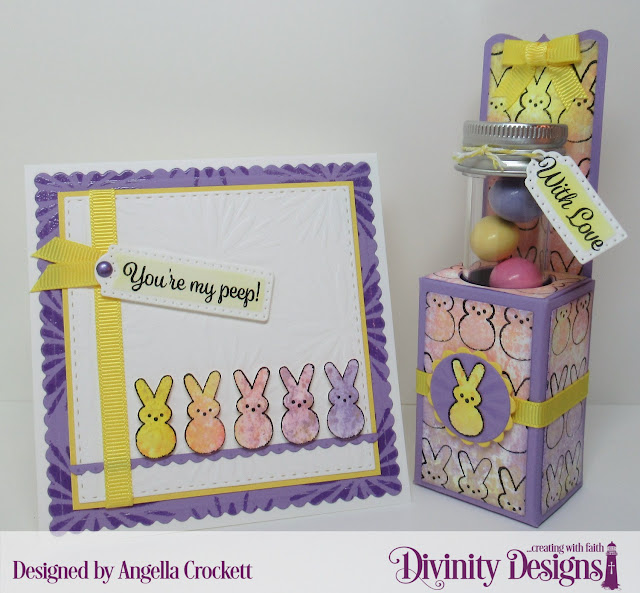 Divinity Designs: Test Tube Treats Dies, Test Tubes - Small, Test Tube Treat Stamps, Treat Tag Sentiments 3, Flower Burst Mixed Media Stencil, Scalloped Circles Dies, Circles Dies, Scalloped Squares Dies, Double Stitched Squares Dies, Bitty Borders Dies, Card Designer Angie Crockett